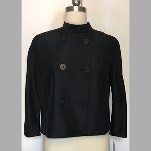 Emanuel Ungaro Silk Black Cropped Jacket 8 NWT